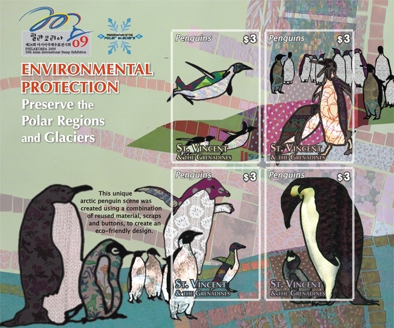 PENGUINS ENVIRONMENTAL PROTECTION SHEETLET 4 X $3 stamps