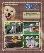 AMERICAN KENNEL CLUB(AKC) DOGS GOLDEN RETRIEVER/SPORTING GROUP 125TH ANNIVERSARY SHEETLET OF 4 X $2 Stamp